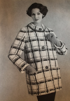 Vintage Knitting Pattern - Women's Plaid Coat - 1960's Retro Mod Bulky Sweater Coat - some crochet needeed