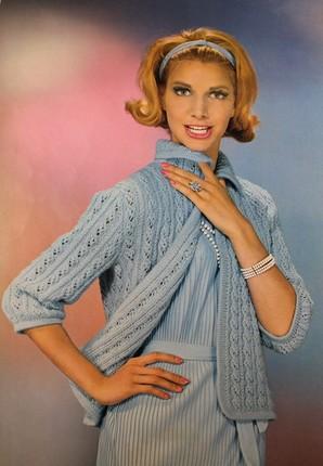 "Vintage Knitting Pattern - Women's Cardigan - 1960's original ""Young Tradition"" Retro Mod Sweater - Grandma Chic Lace Pattern Style"