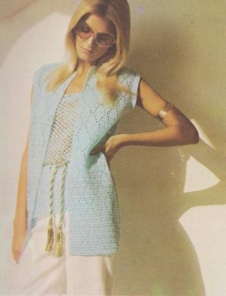 Retro Crochet Pattern - Women's Mesh Tank with Sleeveless Jacket - 1970's original - Vintage Summer Set - Old School Chic