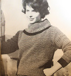 """Vintage Knitting Pattern - Women's Wide Turtleneck Sweater with Two-toned pattern - 1960's original """"Bewitching Magic"""" Retro Mod Sweater"""