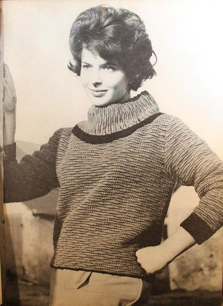 Vintage Knitting Pattern - Women's Wide Turtleneck Sweater with ...