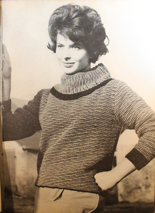 "Vintage Knitting Pattern - Women's Wide Turtleneck Sweater with Two-toned pattern - 1960's original ""Bewitching Magic"" Retro Mod Sweater"
