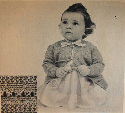 Vintage Knitting Pattern - Baby Jacket Knit-All-In-One-Piece - 1950's original Baby Sweater with buttons