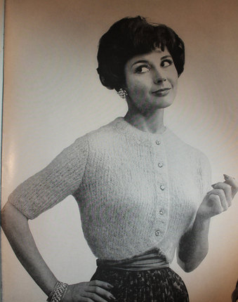 Vintage Knitting Pattern - Women's Mohair Shrug Sweater - 1960's Retro Mod button-up