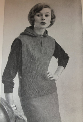 Vintage Knitting Pattern - Women's Poncho with Hood - 1960's Retro Mod Vest with Button Sides