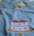SHIPS FREE in cont US kitchen tea towel with embroidered cake designs