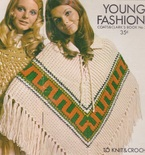 Women's Knitted Poncho - Vintage Knitting Pattern - 1970's original Southwest Native design with fringe and lace-up front - So Retro-Mod!