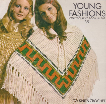 Womens Knitted Poncho Vintage Knitting Pattern 1970s Original