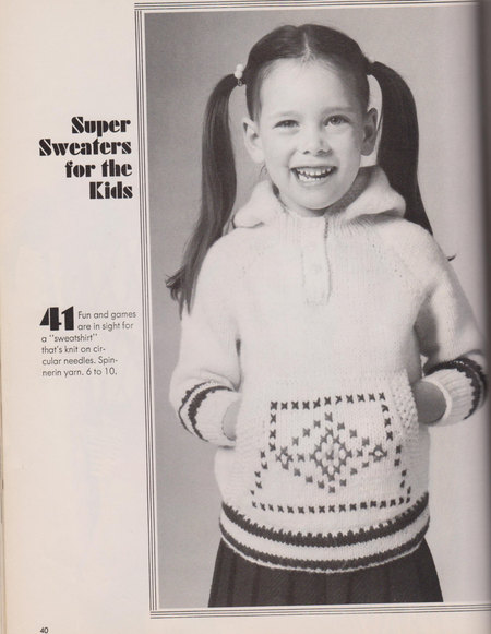 Kids Hoodie Sweater Vintage Knitting Pattern 1970s Original