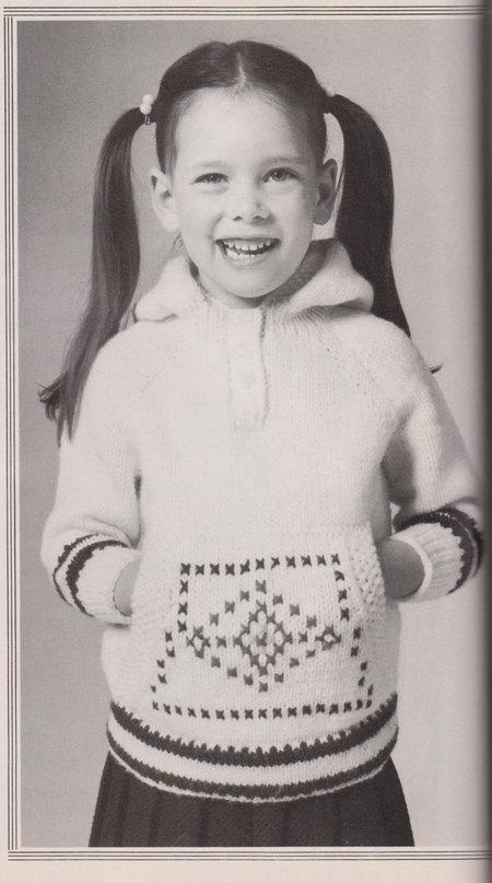 kids hoodie sweater - vintage knitting pattern