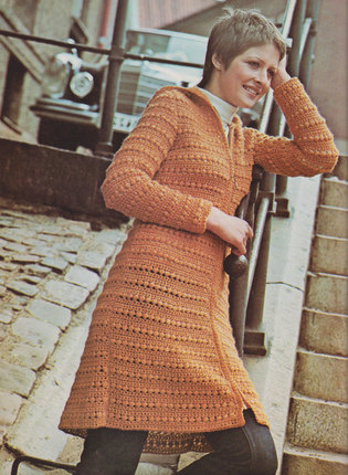 Women's Hooded Tunic - Vintage Crochet Pattern - 1970's original Skimmer - Long Sweater with zipper and hood (73B5)