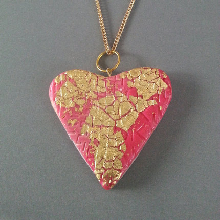 Clay Necklace, Red Heart Polymer Clay, Red Clay Heart Necklace, Red Heart, Necklace, Polymer Clay Necklace, Pendant, Gold Leaf, Gifts for He
