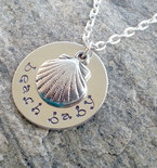 Beach Baby Necklace, Beach Jewelry, Beach, Hand Stamped, Jewelry, Necklace, Pendant Gifts for Her