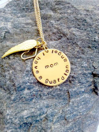 Guardian Angle Necklace, Angel Necklace, Sympathy Necklace, Memorial Necklace, Jewelry, Necklace, Pendant, Gold, Angel Wings,  Family