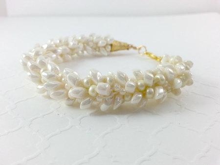 Kumihimo Kumihimo Bracelet Beaded bracelet Ivory Cream Wedding