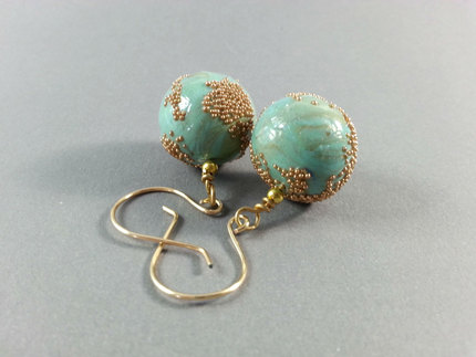 Teal Earrings, Jewelry, Micro beads, Polymer Clay Earrings, Teal Earrings, Blue Bead Earrings, One of a Kind Earrings, Gifts for Her
