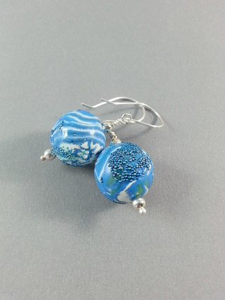 Blue Earrings, Jewelry, Micro beads, Polymer Clay Earrings, Blue Clay Earrings, Blue Bead Earrings, One of a Kind Earrings, Gifts for Her