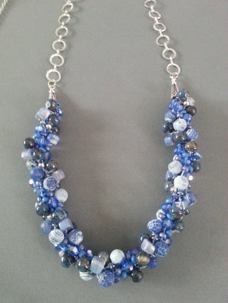 Blue Beaded Necklace, Kumihimo Necklace, Kumihimo, Blue Necklace, Jewelry, Necklaces, Gifts for her, Blue Beads,