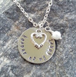 Keeper of my Heart - Silver Filled Pendant - Heart Necklace - Gifts for Her -  Romantic, Heart - Jewelry - Stamped Jewelry, Love Jewelry