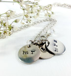 Bridal Jewelry, Wedding Jewelry,  Personalized, Pendant Necklace, Silver Bridal Custom Made, Silver hand stamped Jewelry, Women's Necklaces