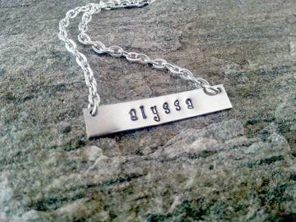 Personalized Name Plate Necklace, Personalized Silver Hand Stamped Name Necklace,