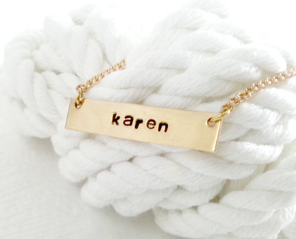 Gold Bar Necklace - Hand Stamped Necklace - Custom Bar Necklace - Personalized Bar Necklace - Necklace, Bar Necklace , Women's Jewelry