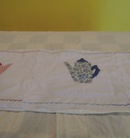 Ships free in cont US handmade tablerunner, with teapot theme