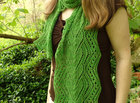 Chloe's Heart Knitted Cable & Lace Scarf Pattern PDF, Charted, Written Directions, Light, Yarn, Sock, Fingering, Wide, Spring Gift