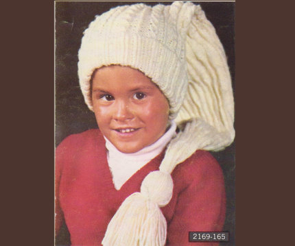Kids EXTRA-Long Stocking Cap with Tassel & Twisted Ribbing - 1960's Vintage Knitting Pattern - Throw-Back Hipster Style (69A15)