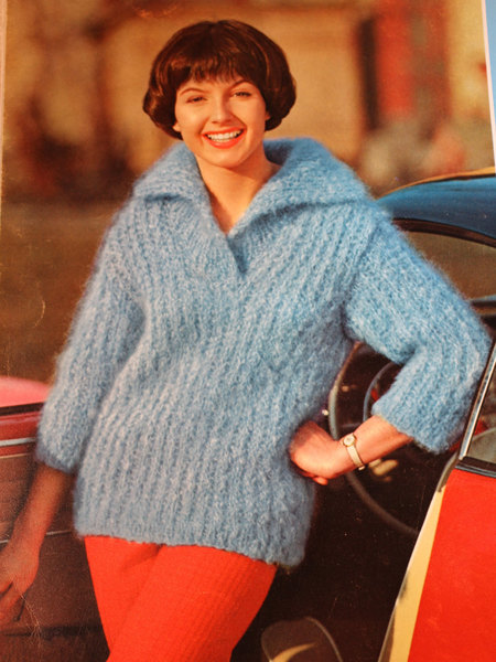 7e733c0d37 Vintage Knitting Pattern - Women s Slipon with Collar - 1960 s Retro Mod  Bulky Ribbed Sweater with Wide Collar (62A3) - woolfsclothing s Shop -  Craftfoxes