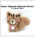 Sleepy Chipmunk Amigurumi - PDF Crochet Pattern
