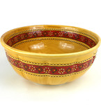 Large, Honey-Colored Bowl with Red Stripe