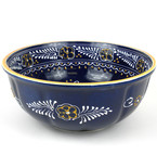 Large, Blue Ceramic Bowl for Entertaining