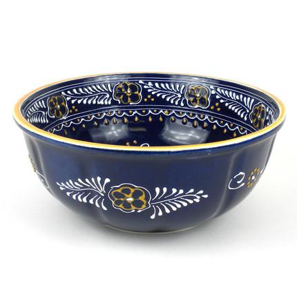 Large, Blue Ceramic Bowl for Entertaining
