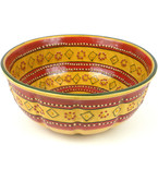 Large Red and Yellow Striped Bowl