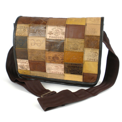 Messenger Bag Made from Leather Labels