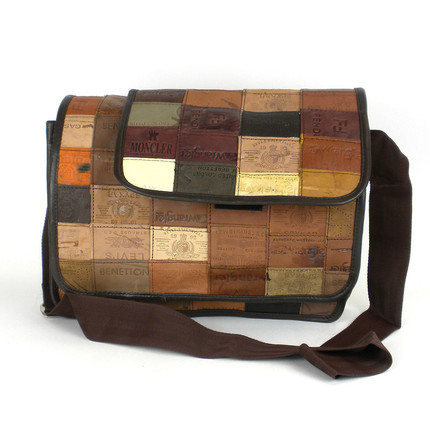 Large Messenger Bag Made from Leather Labels