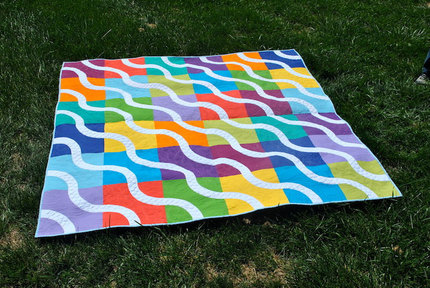 "Queen Size Rainbow, Bright Colored Baseball Curves Modern Bed Quilt 72"" x 72"""
