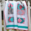 SALE, Modern Baby Quilt for a Baby or Nursery: Pink, Turquoise and White