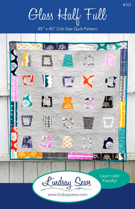 PDF Pattern Download, Glass Half Full Quilt - Baby, Crib Size