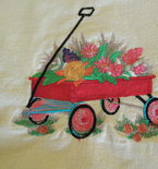 embroidered artwork, wagon in garden scene , ships free in cont US