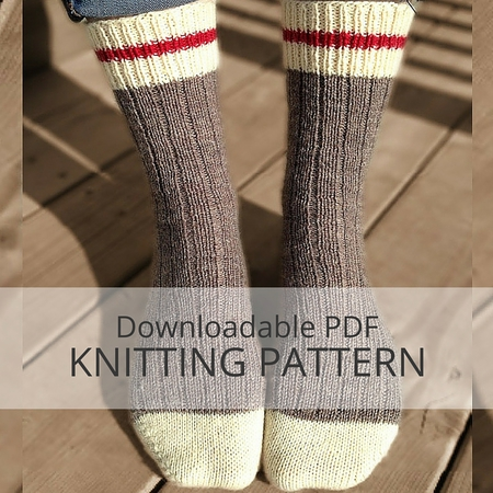 Easy Knitting Pattern For Mens Socks : AVALON Ribbed Sock Knitting Pattern - Kniterations - Craftfoxes