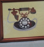 Embroidered antique rotary telephone, framed SHIPS FREE in cont US