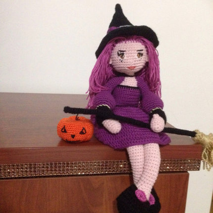 Halloween Crochet Pattern Cute Witch Samantha Doll Amigurumi PDF