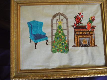 EMBROIDERED ART CHRISTMAS TREE SCENE