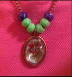 Domed Flower Blossom Bead Necklace