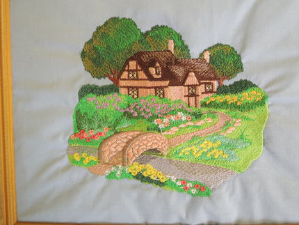 embroidered art, English country cottage, framed
