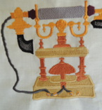 embroidered European style antique telephone  framed
