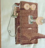 framed art, antique wall telephone
