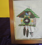 framed embroidered art, coo coo clock